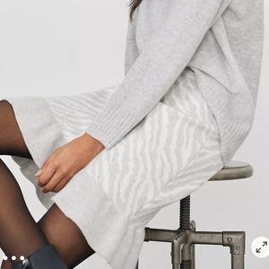 NWT Anthropologie Zebra Ruffled Knit Mini Skirt